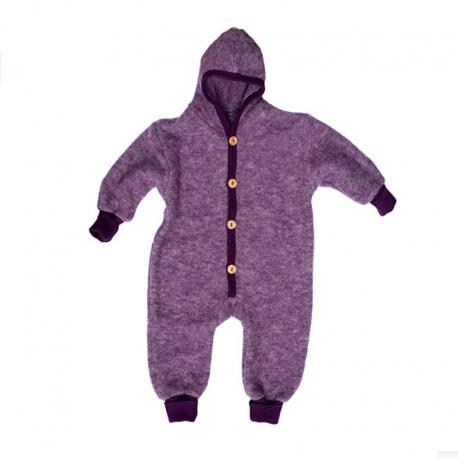 Mono de lana y algodón orgánico con capucha