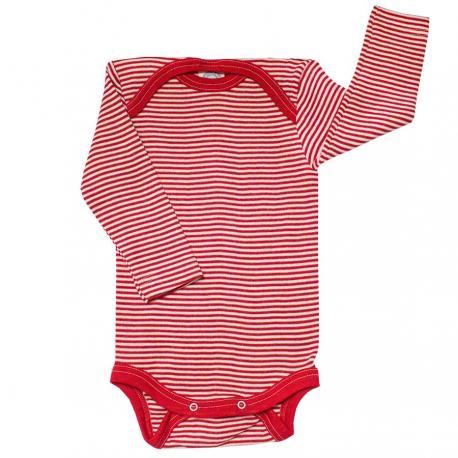 Body de lana orgánica y seda rojo/natural