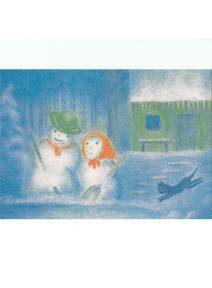 Postal - Febrero Muñeco de nieve