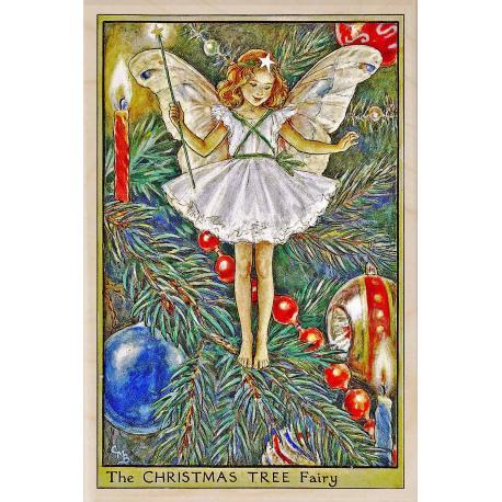 Postal de madera Hada Árbol de Navidad