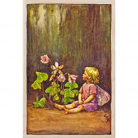 Postal de madera Hada Flor Oca