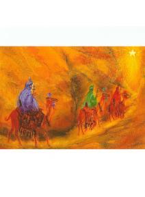 Postal Reyes magos siguiendo la estrella