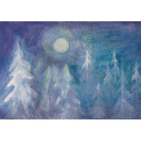 Postal Bosque en invierno