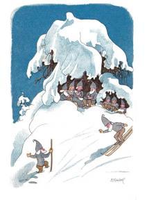 Postal Enanitos en invierno