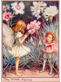 Postal de madera Hada Clavel rosa