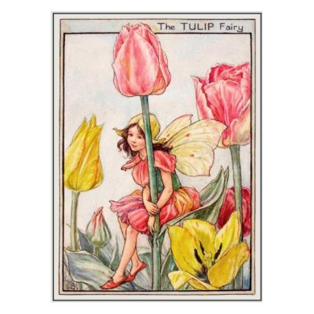 Postal de madera Hada Tulipán