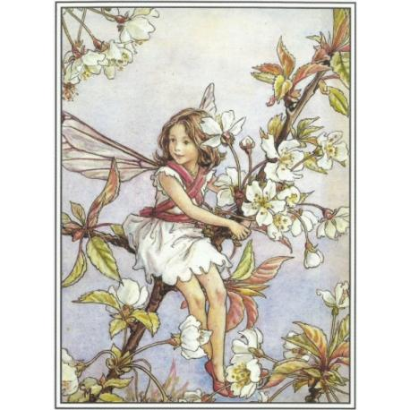 Postal de madera Hada flor cerezo silvestre