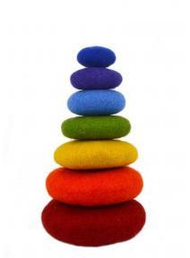 Torre arco iris de lana