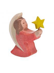 Ángel de madera rosa con estrellita