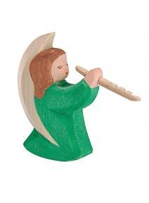 Ángel de madera verde con flauta