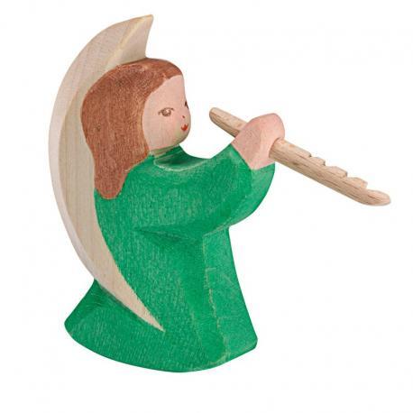 Angel verde con flauta.