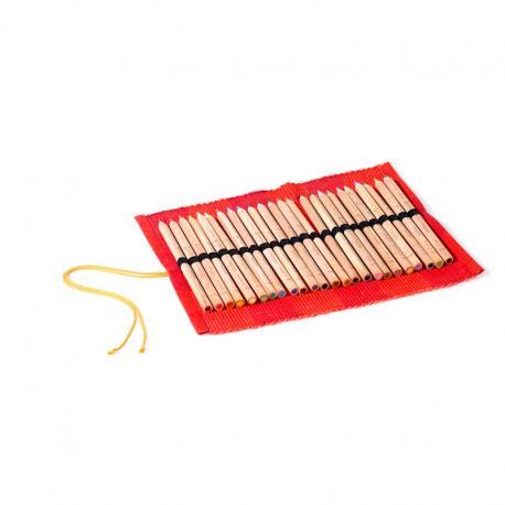 Estuche de tela para lápices de madera