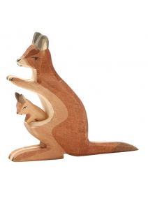 Canguro de madera  mamá con bebé Ostheimer