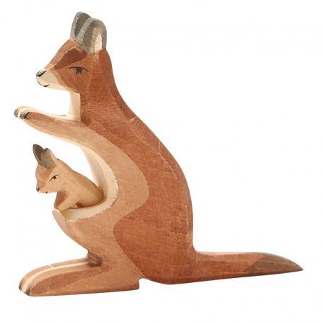 Canguro de madera - mamá con bebé.