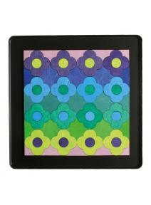 Puzzle magnético Pequeña flor azul y verde