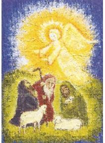 Postal Anunciación a los pastores