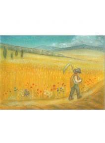 Postal  Agosto  campo de trigo con campesino