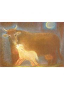 Postal - La vaca con ternero