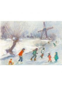 Postal  Los niños patinando