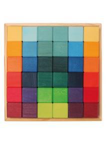 Mosaico de madera Dados arcoiris