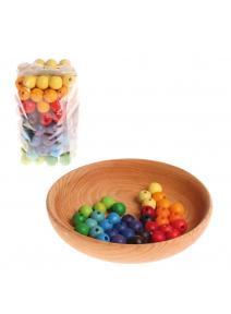 Bolitas de madera arcoiris - 12 mm